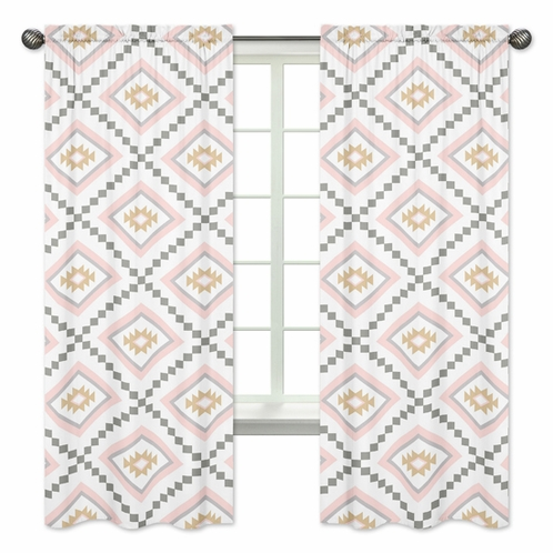 Blush Pink And Grey Boho Window Treatment Panels Curtains For Aztec Collection By Sweet Jojo Designs