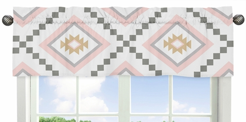 Blush Pink and Grey Boho Window Treatment Valance for Aztec Collection by Sweet Jojo Designs - Click to enlarge