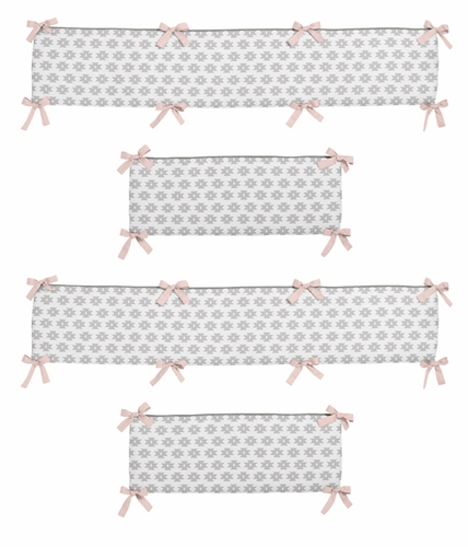 Blush Pink and Grey Geometric Tribal Baby Crib Bumper Pad for Aztec Collection by Sweet Jojo Designs - Click to enlarge