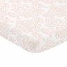 Blush Pink and White Damask Baby or Toddler Fitted Mini Portable Crib Sheet for Amelia Collection by Sweet Jojo Designs