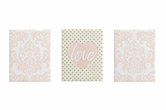 Blush Pink and White Damask Heart Wall Art Room Decor Hangings for Baby, Nursery, Kids and Childrens Amelia Collection by Sweet Jojo Designs - Set of 3