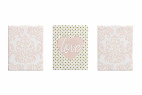 Blush Pink and White Damask Heart Wall Art Room Decor Hangings for Baby, Nursery, Kids and Childrens Amelia Collection by Sweet Jojo Designs - Set of 3 - Click to enlarge