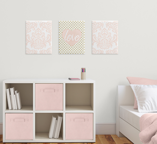 Blush Pink And White Damask Heart Wall Art Room Decor Hangings For Baby Nursery Kids Childrens Amelia Collection By Sweet Jojo Designs Set Of 3 Only