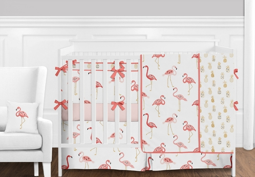 Blush Pink, Coral, Gold and White Tropical Flamingo and Pineapple Baby Girl Crib Bedding Set with Bumper by Sweet Jojo Designs - 9 pieces - Click to enlarge