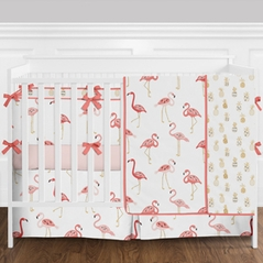 Blush Pink, Coral, Gold and White Tropical Flamingo and Pineapple Baby Girl Crib Bedding Set with Bumper by Sweet Jojo Designs - 9 pieces