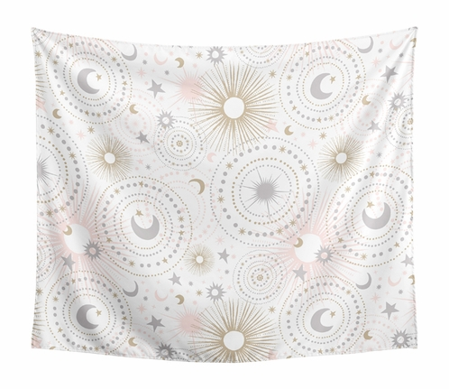 Blush Pink, Gold and Grey Star and Moon Wall Hanging Tapestry Art Decor for Celestial Collection by Sweet Jojo Designs - 50in. x 60in. - Click to enlarge