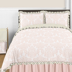 Blush Pink, Gold and White Amelia 3pc Full / Queen Girls Bedding Set by Sweet Jojo Designs