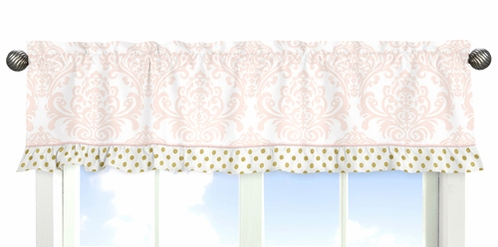 Blush Pink, Gold and White Amelia Collection Window Valance by Sweet Jojo Designs - Click to enlarge