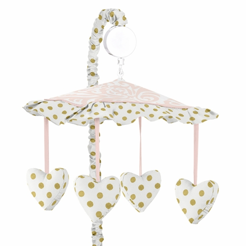 Blush Pink, Gold and White Amelia Musical Baby Crib Mobile by Sweet Jojo Designs - Click to enlarge