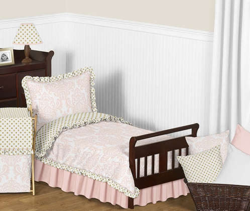 Blush Pink, Gold and White Amelia Toddler Bedding - 5pc Girls Set by Sweet Jojo Designs - Click to enlarge