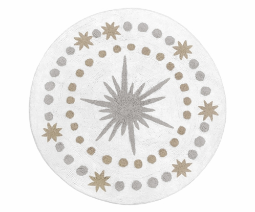 Blush Pink, Gold, Grey and White Star and Moon Accent Floor Rug or Bath Mat for Celestial Collection by Sweet Jojo Designs - Click to enlarge