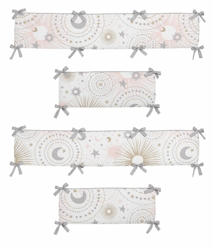 Blush Pink, Gold, Grey and White Star and Moon Baby Crib Bumper Pad for Celestial Collection by Sweet Jojo Designs - Click to enlarge
