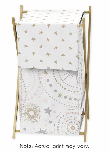 Blush Pink, Gold, Grey and White Star and Moon Baby Kid Clothes Laundry Hamper for Celestial Collection by Sweet Jojo Designs - Click to enlarge