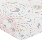 Blush Pink, Gold, Grey and White Star and Moon Baby or Toddler Fitted Crib Sheet for Celestial Collection by Sweet Jojo Designs