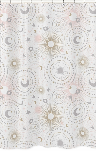 Blush Pink, Gold, Grey and White Star and Moon Bathroom Fabric Bath Shower Curtain for Celestial Collection by Sweet Jojo Designs - Click to enlarge