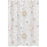 Blush Pink, Gold, Grey and White Star and Moon Bathroom Fabric Bath Shower Curtain for Celestial Collection by Sweet Jojo Designs