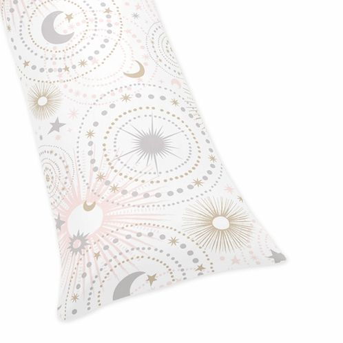 Blush Pink, Gold, Grey and White Star and Moon Body Pillow Case Cover for Celestial Collection by Sweet Jojo Designs (Pillow Not Included) - Click to enlarge