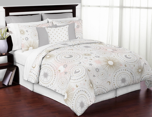 Blush Pink, Gold, Grey and White Star and Moon Celestial Girl Full / Queen Kid Childrens Bedding Comforter Set by Sweet Jojo Designs - 3 pieces - Click to enlarge