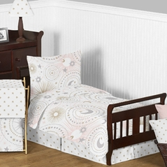 Blush Pink, Gold, Grey and White Star and Moon Celestial Girl Toddler Kid Childrens Bedding Set by Sweet Jojo Designs - 5 pieces Comforter, Sham and Sheets