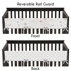 Blush Pink, Gold, Grey and White Star and Moon Long Front Crib Rail Guard Baby Teething Cover Protector Wrap for Celestial Collection by Sweet Jojo Designs