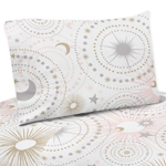 Blush Pink, Gold, Grey and White Star and Moon Queen Sheet Set for Celestial Collection by Sweet Jojo Designs - 4 piece set