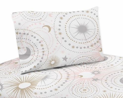 Blush Pink, Gold, Grey and White Star and Moon Queen Sheet Set for Celestial Collection by Sweet Jojo Designs - 4 piece set - Click to enlarge