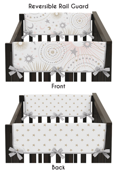 Blush Pink, Gold, Grey and White Star and Moon Side Crib Rail Guards Baby Teething Cover Protector Wrap for Celestial Collection by Sweet Jojo Designs - Set of 2