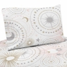 Blush Pink, Gold, Grey and White Star and Moon Twin Sheet Set for Celestial Collection by Sweet Jojo Designs - 3 piece set