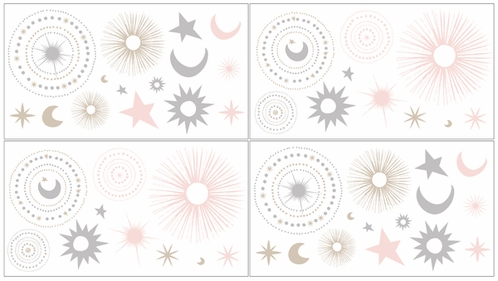 Blush Pink, Gold, Grey and White Star and Moon Peel and Stick Wall Decal Stickers Art Nursery Decor for Celestial Collection by Sweet Jojo Designs - set of 4 sheets - Click to enlarge