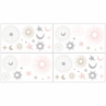 Blush Pink, Gold, Grey and White Star and Moon Wall Decal Stickers for Celestial Collection by Sweet Jojo Designs - set of 4 sheets