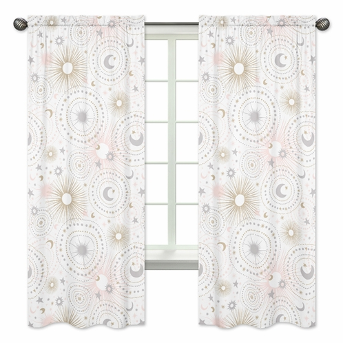 Blush Pink, Gold, Grey and White Star and Moon Window Treatment Panels Curtains for Celestial Collection by Sweet Jojo Designs - Set of 2 - Click to enlarge