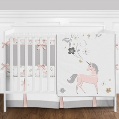 Blush Pink, Grey and Gold Unicorn Toile Baby Girl Crib Bedding Set with Bumper by Sweet Jojo Designs - 9 pieces
