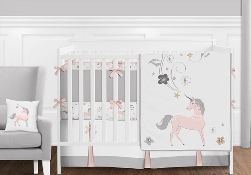 Blush Pink, Grey and Gold Unicorn Toile Baby Girl Crib Bedding Set with Bumper by Sweet Jojo Designs - 9 pieces - Click to enlarge