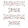 Blush Pink, Grey and White Baby Crib Bumper Pad for Watercolor Floral Collection by Sweet Jojo Designs - Rose Flower