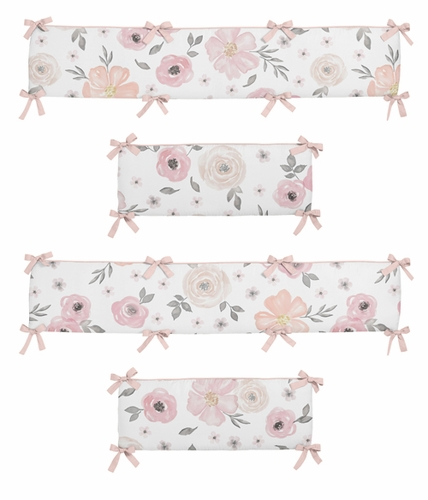 Blush Pink, Grey and White Baby Crib Bumper Pad for Watercolor Floral Collection by Sweet Jojo Designs - Rose Flower - Click to enlarge
