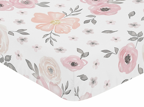 Blush Pink, Grey and White Baby or Toddler Fitted Crib Sheet for Watercolor Floral Collection by Sweet Jojo Designs - Click to enlarge