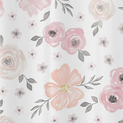 Blush pink grey and white bathroom fabric bath shower curtain for blush pink grey and white bathroom fabric bath shower curtain for watercolor floral collection by sweet jojo designs only 3999 mightylinksfo