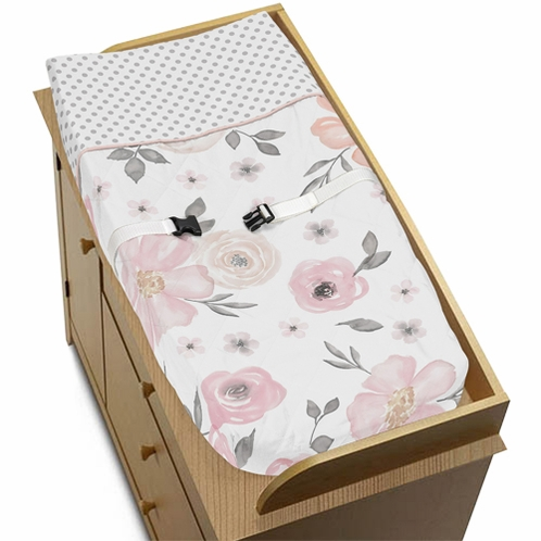 Blush Pink, Grey and White Changing Pad Cover for Watercolor Floral Collection by Sweet Jojo Designs - Click to enlarge