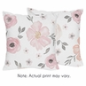 Blush Pink, Grey and White Decorative Accent Throw Pillows for Watercolor Floral Collection by Sweet Jojo Designs - Set of 2
