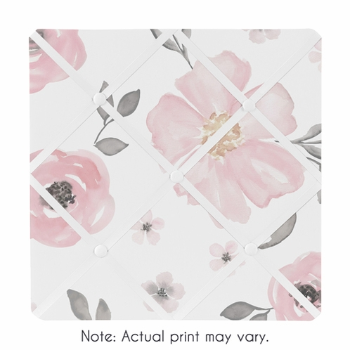 Blush Pink, Grey and White Fabric Memory Memo Photo Bulletin Board for Watercolor Floral Collection by Sweet Jojo Designs - Click to enlarge