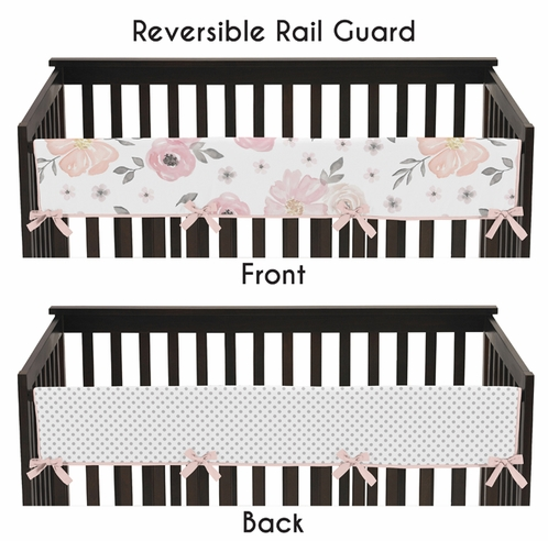 Blush Pink, Grey and White Long Front Crib Rail Guard Baby Teething Cover Protector Wrap for Watercolor Floral Collection by Sweet Jojo Designs - Click to enlarge