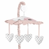 Blush Pink, Grey and White Musical Baby Crib Mobile for Watercolor Floral Collection by Sweet Jojo Designs