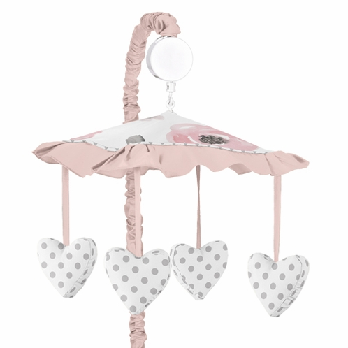 Blush Pink, Grey and White Musical Baby Crib Mobile for Watercolor Floral Collection by Sweet Jojo Designs - Click to enlarge