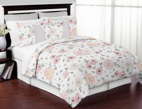 Blush pink grey and white queen sheet set for watercolor floral blush pink grey and white queen sheet set for watercolor floral collection by sweet jojo designs 4 piece set only 6999 mightylinksfo