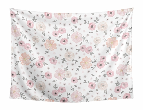Blush Pink, Grey and White Shabby Chic Wall Hanging Tapestry Art Decor for Watercolor Floral Collection by Sweet Jojo Designs - Rose Flower - 60in. x 80in. - Click to enlarge