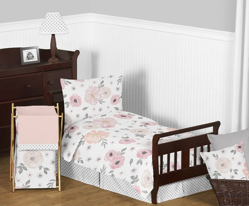 Blush Pink, Grey and White Shabby Chic Watercolor Floral Girl Toddler Kid Childrens Bedding Set by Sweet Jojo Designs - 5 pieces Comforter, Sham and Sheets - Rose Flower Polka Dot - Click to enlarge