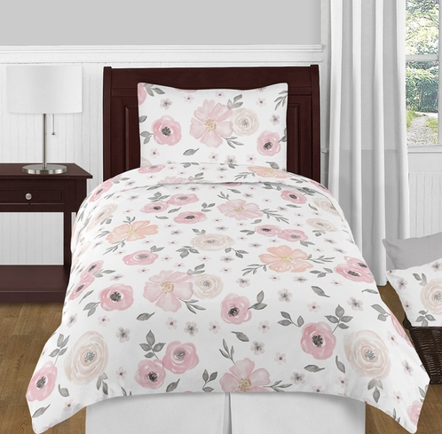 Blush Pink, Grey and White Shabby Chic Watercolor Floral Girl Twin Kid Childrens Bedding Comforter Set by Sweet Jojo Designs - 4 pieces - Rose Flower - Click to enlarge