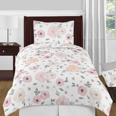 Blush Pink, Grey and White Shabby Chic Watercolor Floral Girl Twin Kid Childrens Bedding Comforter Set by Sweet Jojo Designs - 4 pieces - Rose Flower
