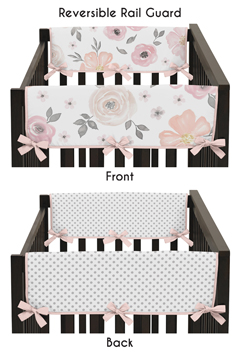 Blush Pink, Grey and White Side Crib Rail Guards Baby Teething Cover Protector Wrap for Watercolor Floral Collection by Sweet Jojo Designs - Set of 2