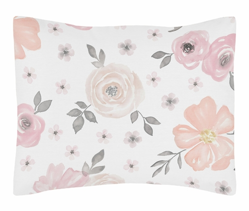Blush Pink, Grey and White Standard Pillow Sham for Watercolor Floral Collection by Sweet Jojo Designs - Click to enlarge